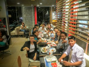 In typical fashion, the young people celebrating Amadeo's baptism at MacDonalds